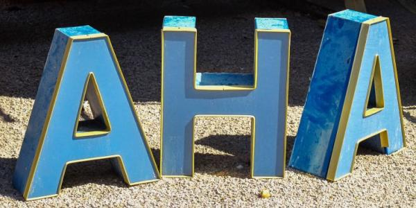 Photo of letters spelling AHA