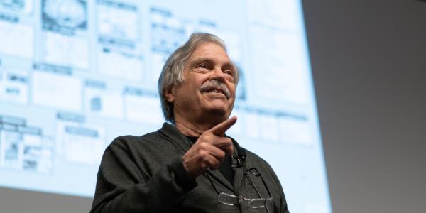 Photo of Alan Kay speaking at ATLAS