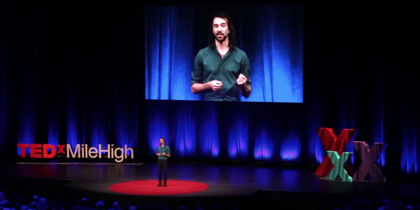 Carson on stage during TEDx talk