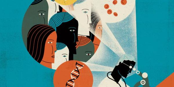 Illustration of a researcher looking through a microscope and seeing in her head people and  DNA strands.