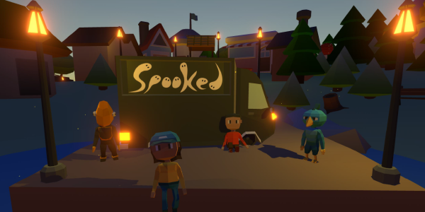 Characters from the Spooked animation on a dark street lit up by lights that spell sppoked.