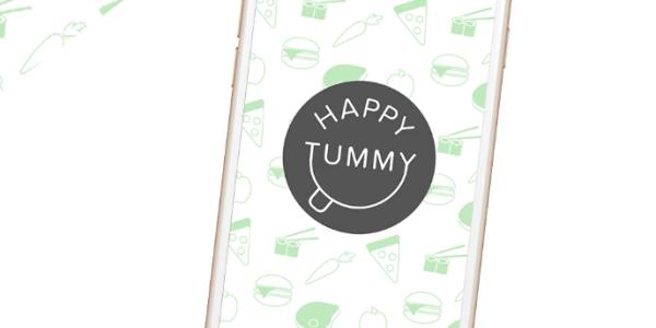 Photo of Happy Tummy logo on smart phone