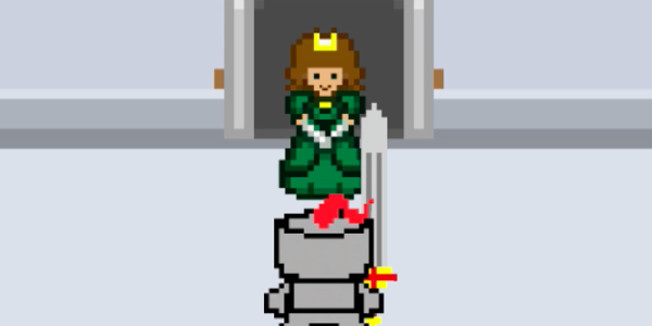 Screenshot of video game knight in front of princess