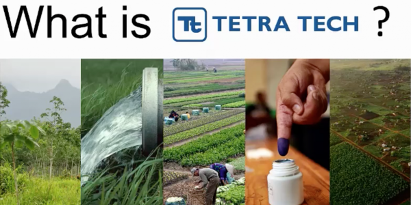 """Text reading """"What is Tetra Tech"""" and images of water and various crops"""