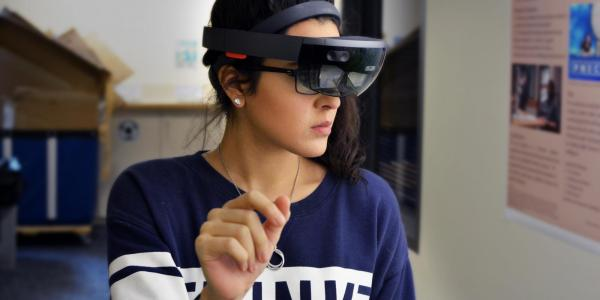 IRON lab member with VR headset