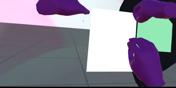 Virtual hands about to fold a piece of paper into a paper airplane