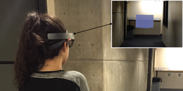 Woman using augmented reality technology