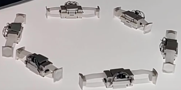 Five Shapebots aligned in almost a circular array.