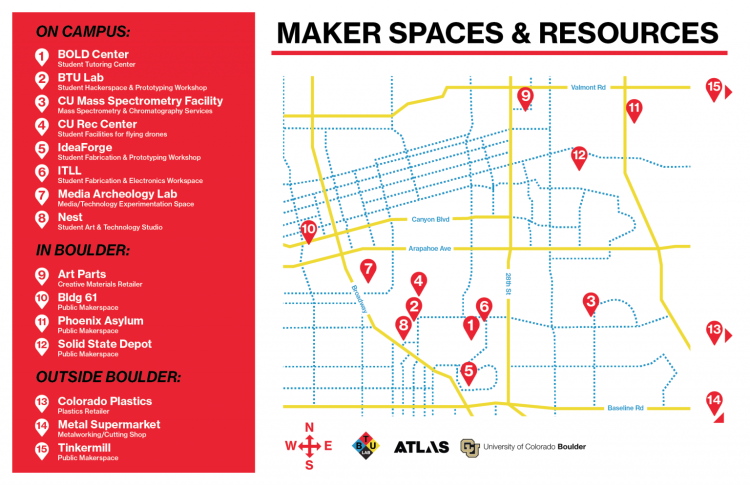 Makerspaces & Resources Map for Boulder, CO