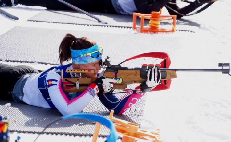 Joanne Reid shooting a rifle