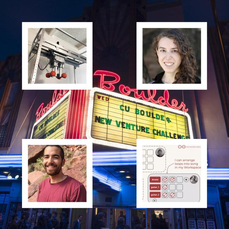 Marquee of the Boulder Theatre with the NVC 14 on it with photos of Kailey Shara and Darren Sholes and their projects surrounding it