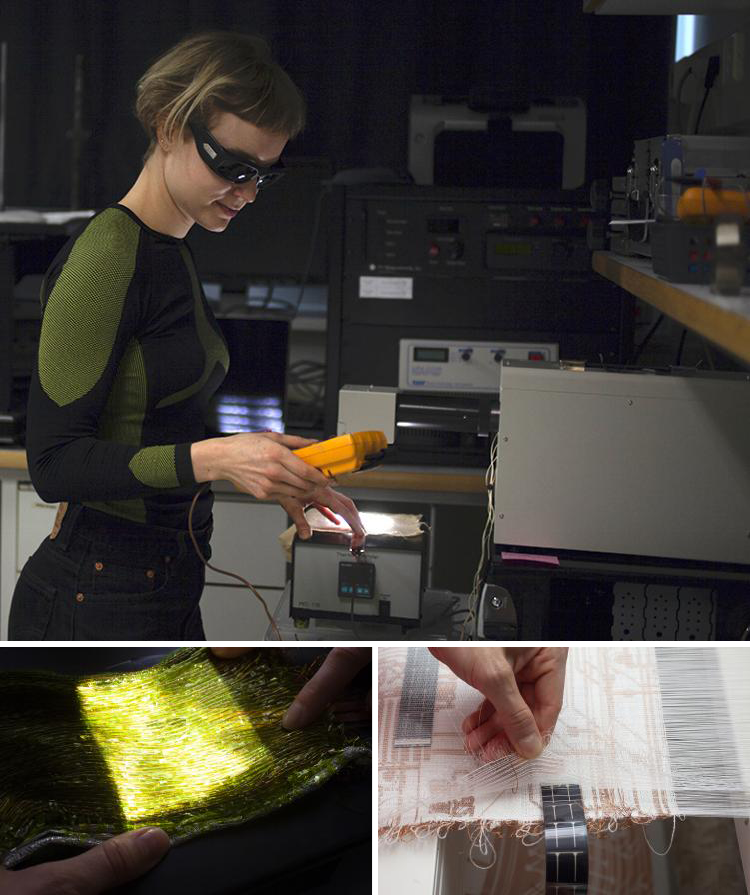 Sandra Wirstanen working and two images depicting her weaving work