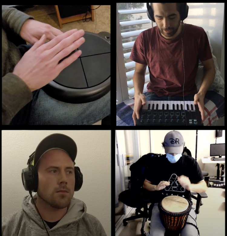 Four views, including hands on a drum, Darren  playing on a keyboard, Torin Hopkins with headphones on and a masked drummer playing a drum.
