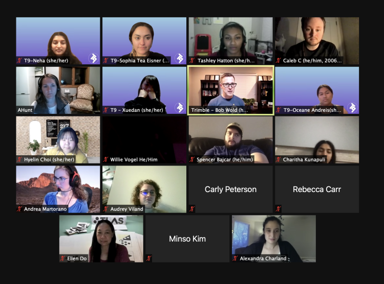 Zoom screen of T9Hacks participants.