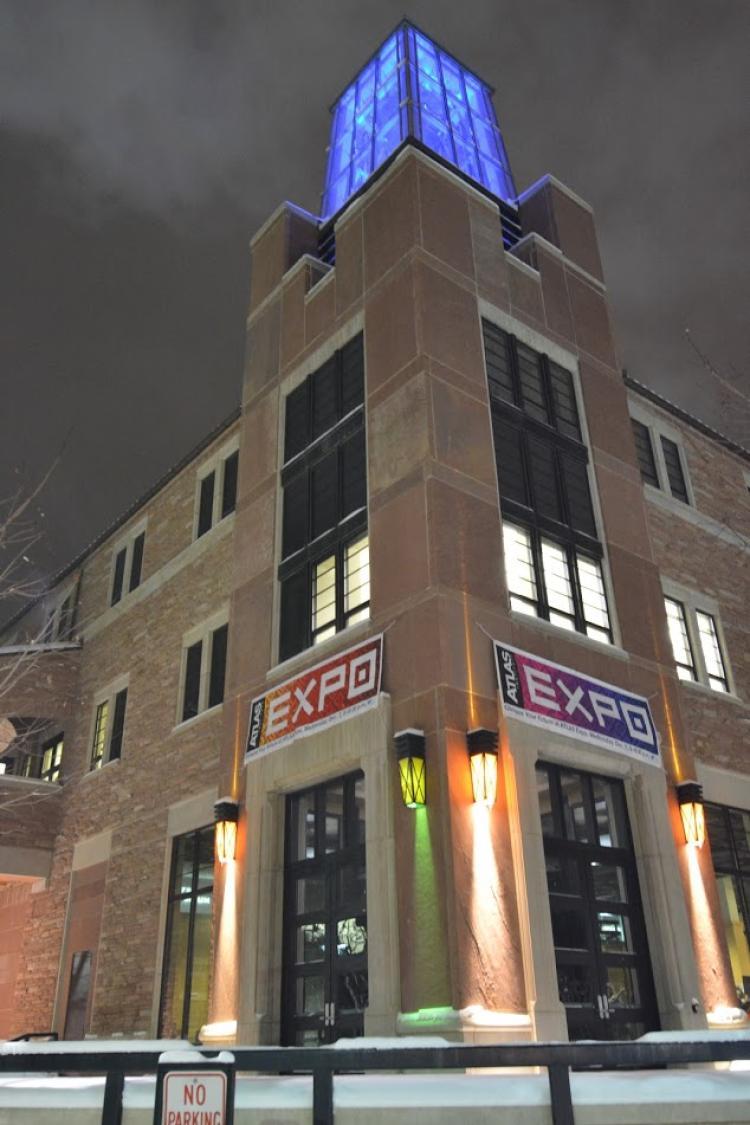 atlas building lit up