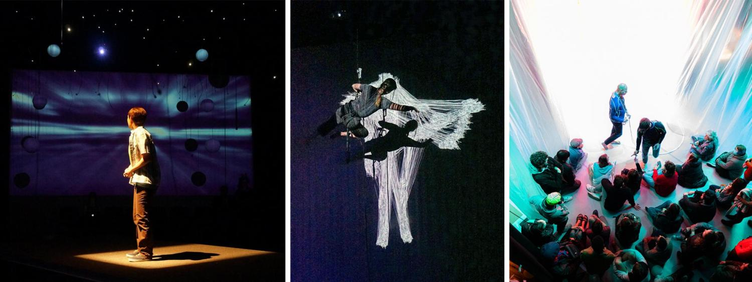 Multiple black box performance images of dancers performing.