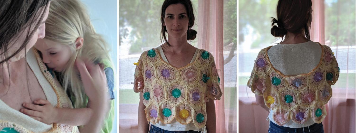 Three views of a sweater that Laura Devendorf created, which involves weaving in multiple bottle nipples.
