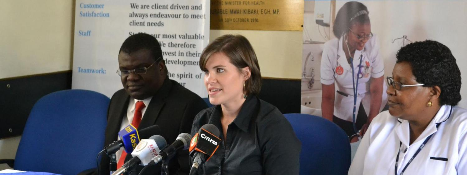 Photo of Heather Underwood at a press conference