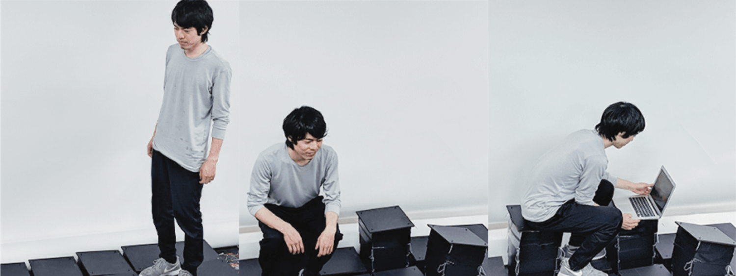 Three images of Ryo Suzuki looking at LiftTiles at different heights. In the last image he is sitting at his computer on top of the LiftTiles.