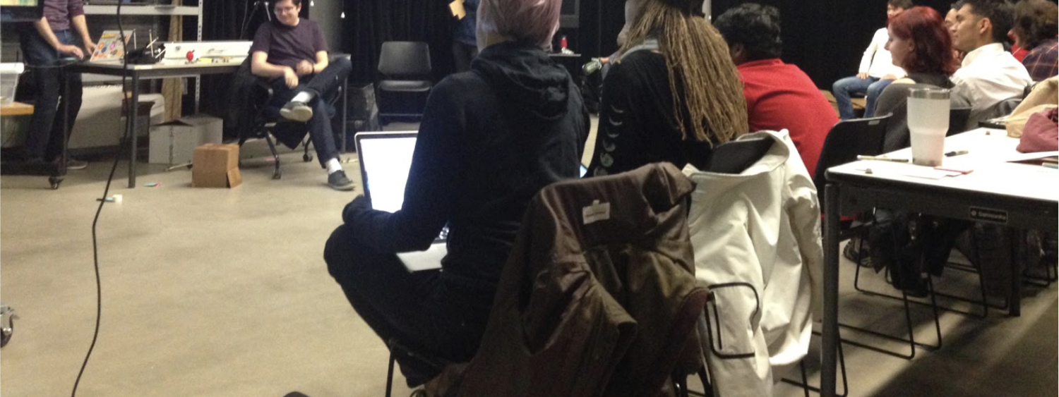 people in the workshop for motion tracking