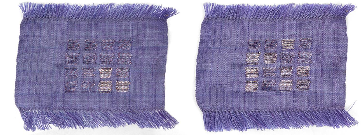 Image of woven smart textiles changing color