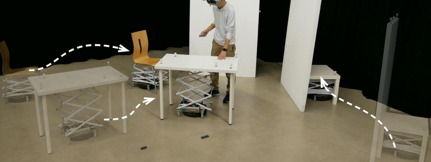 dynamic reconfiguration of robotic movements of furniture for a virtual reality environment with motion tracking