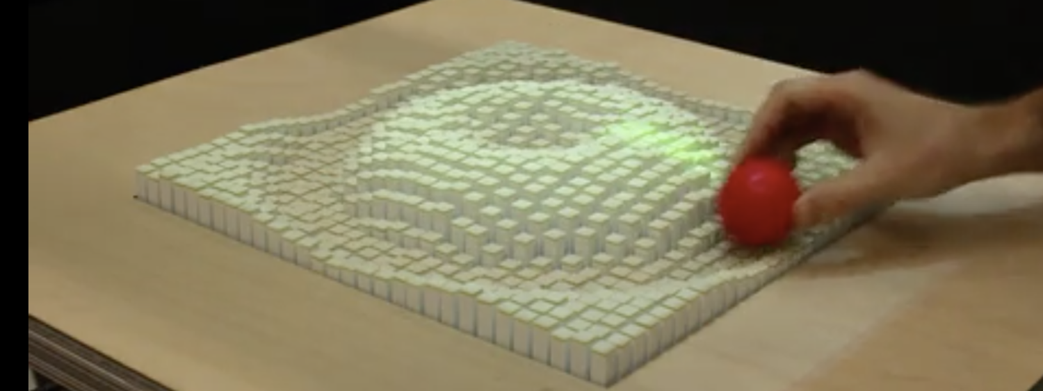 inFORM is a Dynamic Shape Display that can render 3D content physically, so users can interact with digital information in a tangible way.