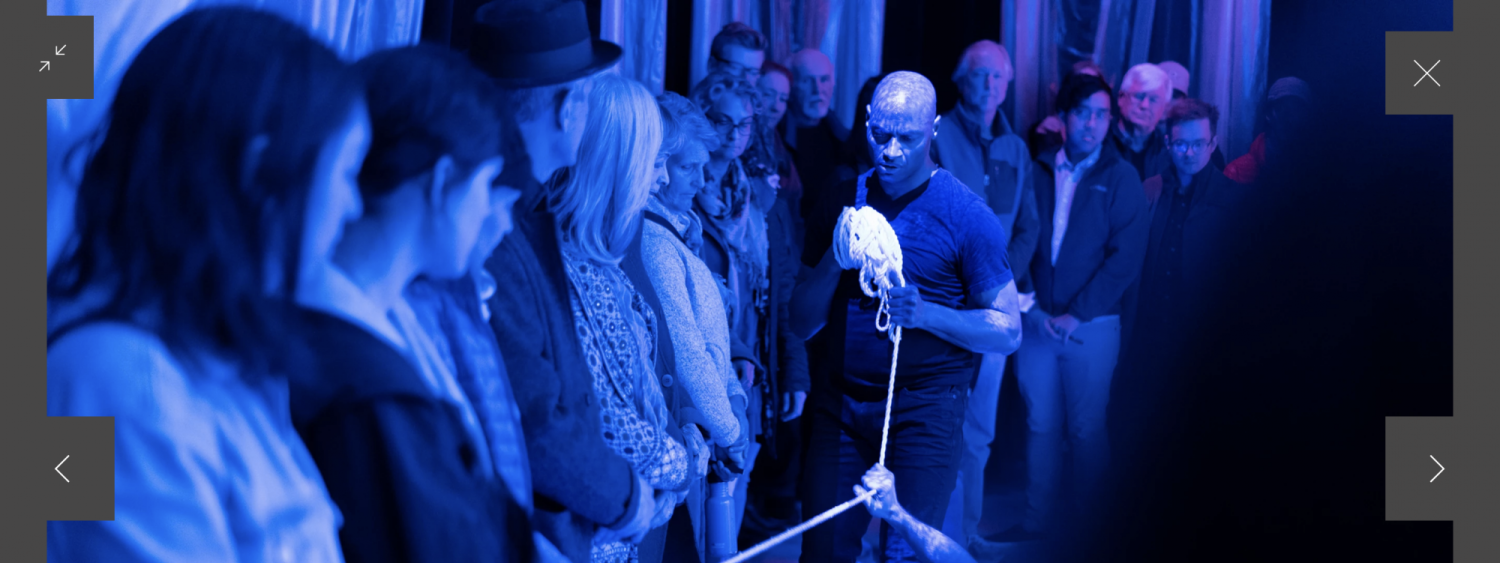 Helanius in Multiscapes with audience under blue light