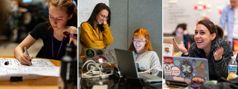 students attending womens hackathon