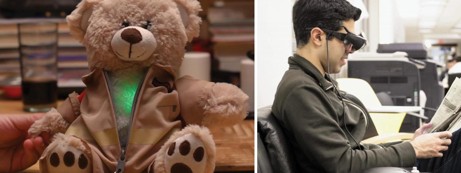 Photo of light up teddy bear and man using electronic glasses