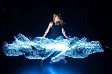 Emily Daub with interactive LED costume