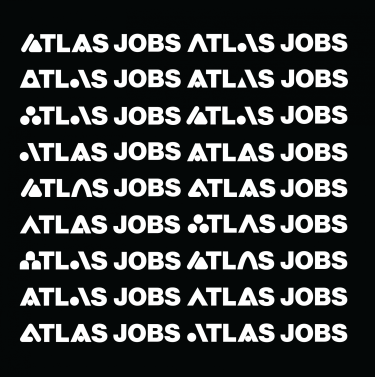 """square graphic that repeats the words """"atlas jobs"""""""