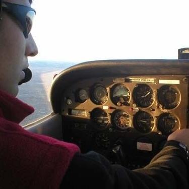 Mazdak Hashemi flying a plane