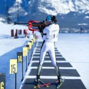 Photo of Reid competing in a biathlon