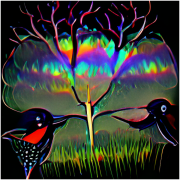 rainbow cowbird art graphic