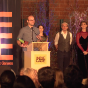 Peter Gyory accepts the award at the IndieCade International Festival of Independent Games.