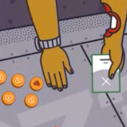 Screenshot from ravine promo video of bitten hand playing cards