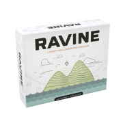 Box cover of the board game Ravine, which has a simple drawing of a plane about to fall onto some mountains surrounded by ocean.