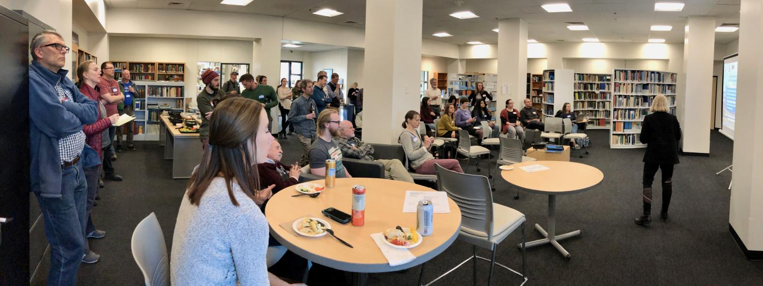 A crowd gathered in the Bartlett Center during the spring 2020 INSTAAR data blitz