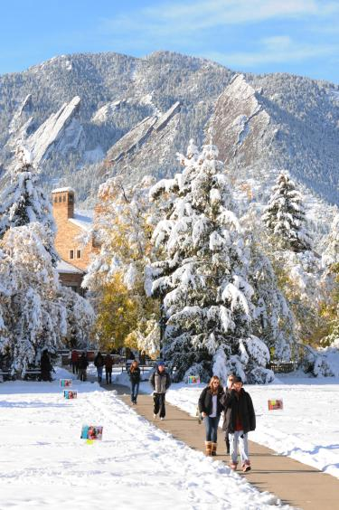 Snow on Flatirons from Norlin Quad