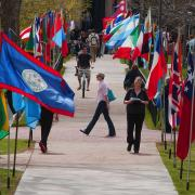 Several colorful flags of different countries framing a walking veteran.