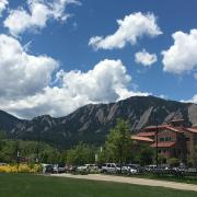 CU Flatirons and clouds pic
