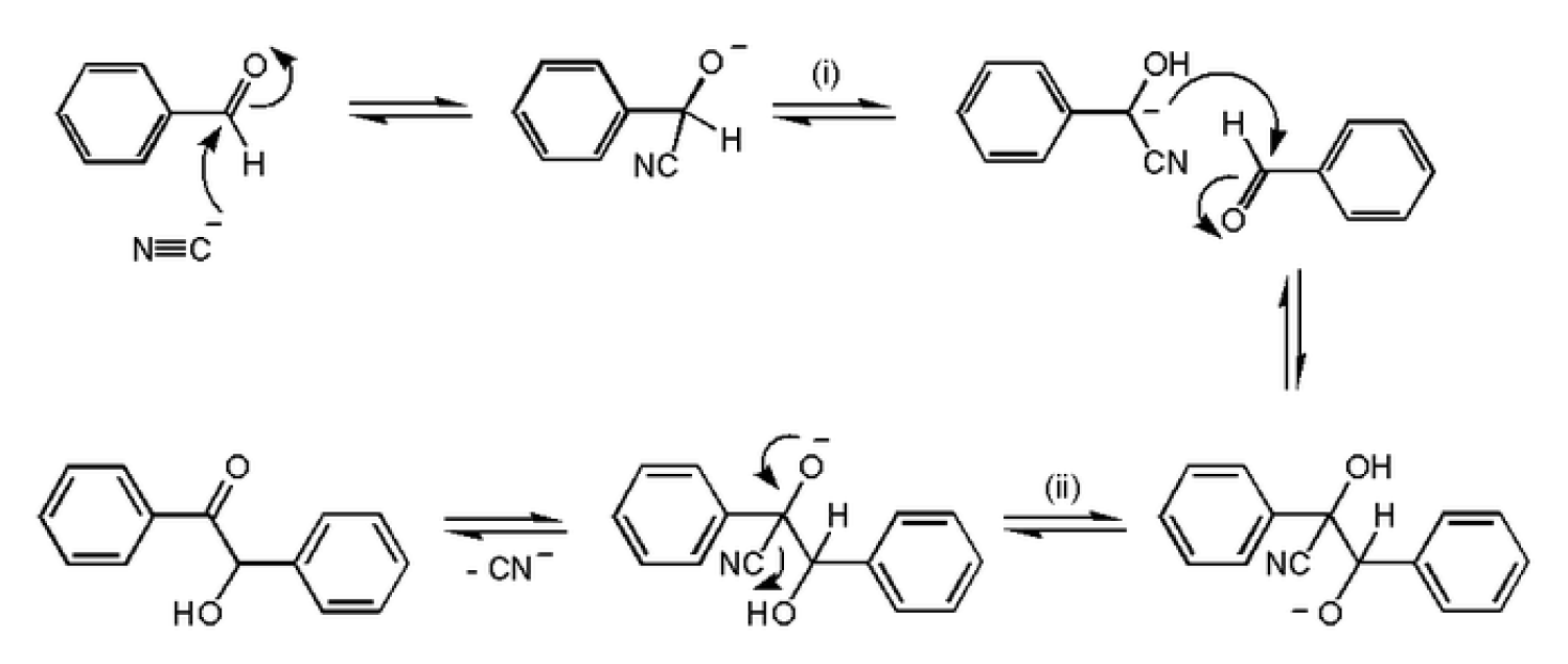 Cyanide attacks a benzaldehyde to facilitate the joining of two benzaldehydes.