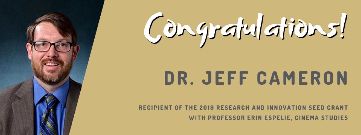 Jeff Cameron- 2019 Research and Innovation Seed Grant