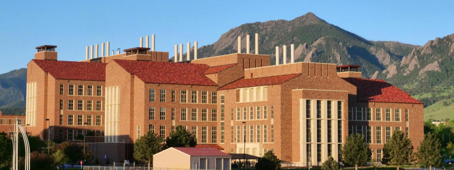 The Jennie Smoley Caruthers Biotechnology Building at the University of Colorado Boulder. (Photo by Casey A. Cass/University of Colorado)