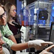 Three women doing lab research