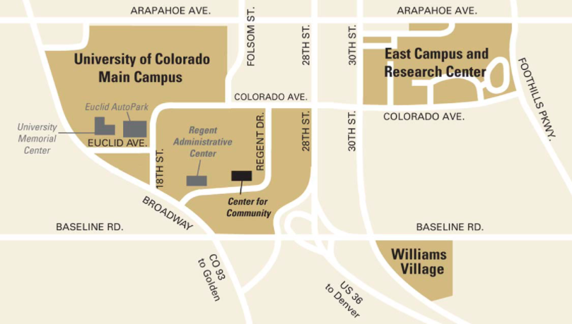 Campus map CU Boulder for Center for Community