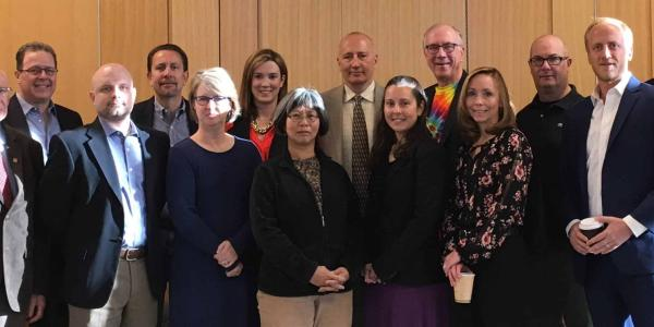 Participants of BizWest's CEO Roundtable on Life Sciences in Boulder are, from left, Misha Plam, Ron Squarer, David Kerr, William Marshall, Chris Shapard, Jennifer Jones, Tin Tin Su, Pawel Fludzinski, Amy Beckley, Tom Cech, Becky Potts, Kyle Lefkoff, Tom Hertzberg, Jonathan Vaught, Marvin Caruthers, Not pictured: Brynmor Reese. BizWest/Jensen Werley.