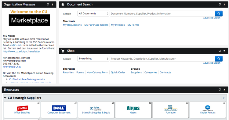 Image showing the homepage for CU Boulder marketplace