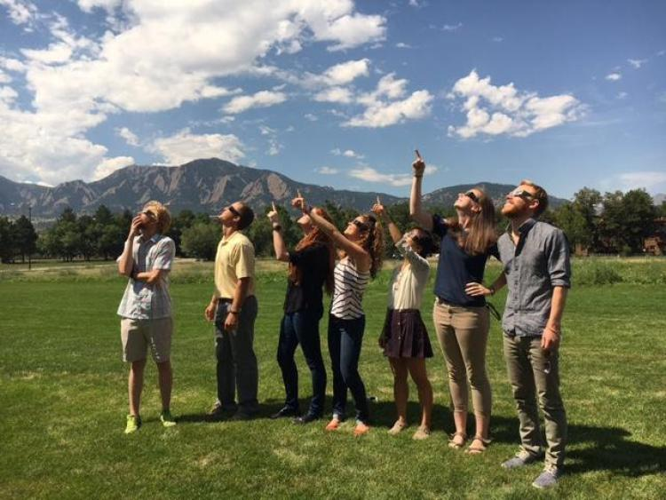 Class of 2017 IQ Biology PhD Students gather to see the eclipse during their Orientation Bootcamp Coding Week at BioFrontiers Institute.